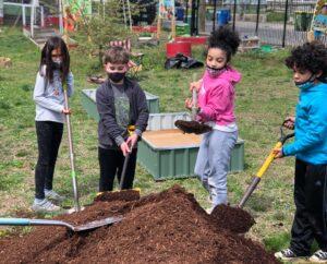Four children digging in community garden